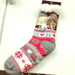 New! Super Soft Thermal Knit Fleece Slipper Socks
